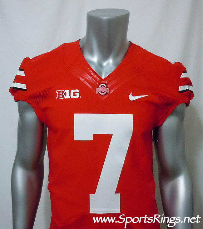 2013 Ohio State Buckeyes Football Authentic Scarlet On-Field Game Worn Player's Jersey-#7 Jordan Hall-Starting RB and Captain!!