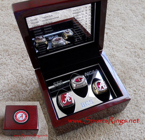 "2009 Alabama Crimson Tide Football ""NCAA NATIONAL CHAMPIONSHIP"" Authentic Former Starting Player's 3 Ring Set with Display Case!!"