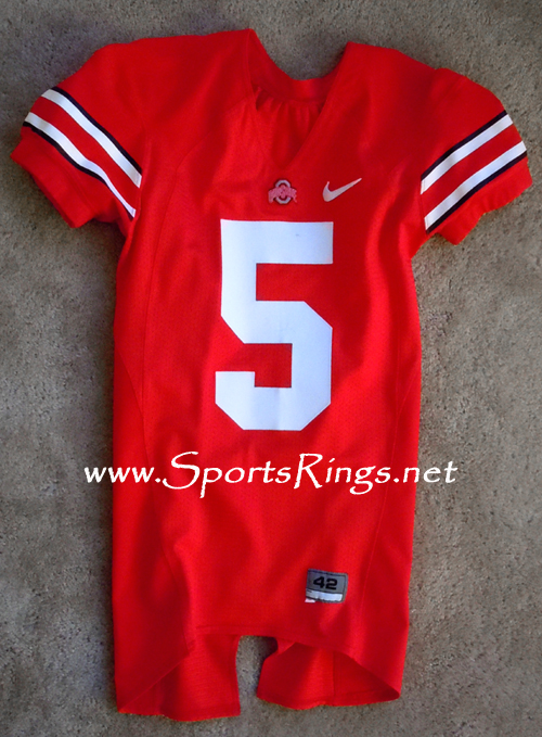 2008 Ohio State Buckeyes Football #5 Scarlet Game Worn Player's Jersey