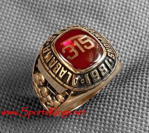 "1981 Alabama Crimson Tide Football ""SEC Championship 315"" 10K Gold Player's Ring!"