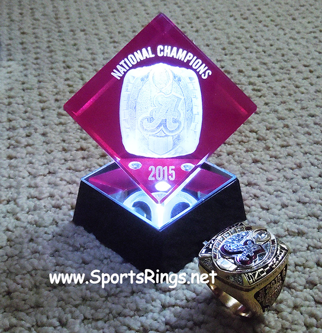 """**CURRENTLY AVAILABLE CALL FOR PRICE**2015 Alabama Football """"COLLEGE FOOTBALL PLAYOFF COTTON BOWL/NATIONAL CHAMPIONSHIP"""" Starting Player Issued Laser Etched Acylic LED Ring Display"""