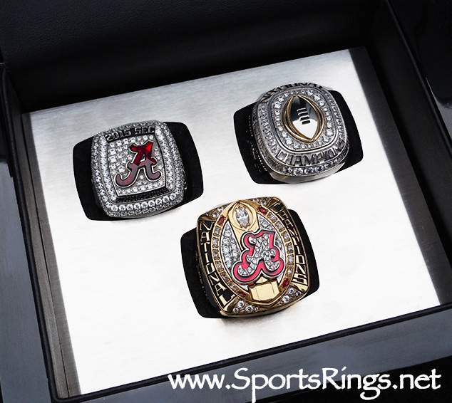 "**CURRENTLY AVAILABLE CALL FOR PRICE**2015 Alabama Football ""SEC/COTTON BOWL/COLLEGE PLAYOFF NATIONAL CHAMPIONSHIP' Starting Player Issued 3-Ring Set w/Display Case"