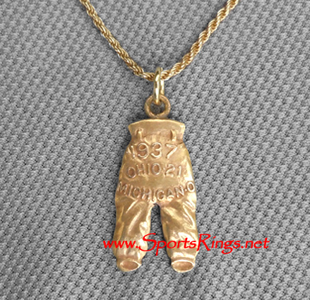"1937 Ohio State Buckeyes Football ""GOLD PANTS"" Starting Player's Award Charm!"