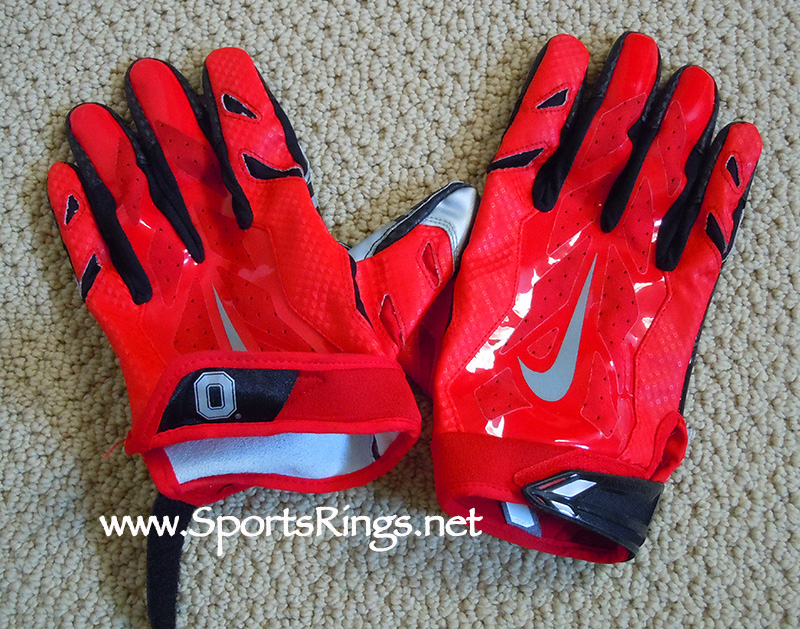 "2015 Ohio State Football ""College Football Playoff"" Nike Special Edition Game Worn Gloves"