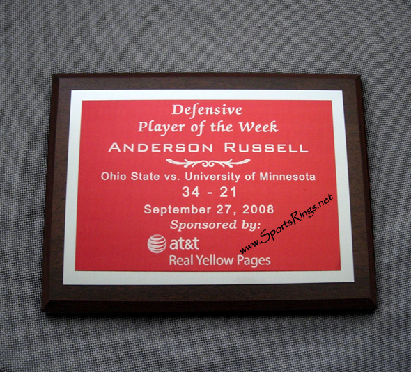 "2008 Ohio State Football ""AT&T Defensive Player of the Week"" Player's Award Plaque-#21 Anderson Russell"