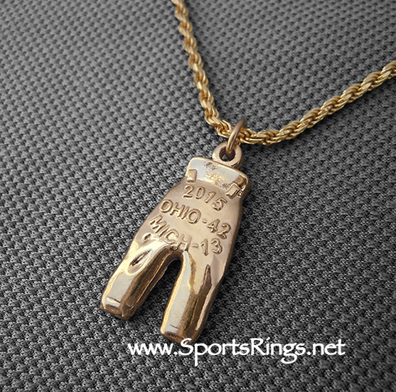 """2015 Ohio State Buckeyes Football """"GOLD PANTS"""" Authentic Player Issued Award Charm!!"""