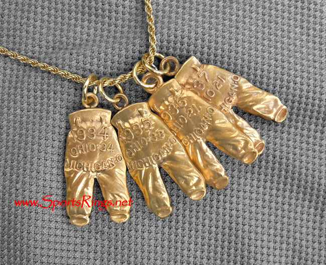 "'35, '36, '37 Ohio State Buckeyes Football ""GOLD PANTS"" Starting Player's Award Charm Set!!!(VERY RARE!!)"