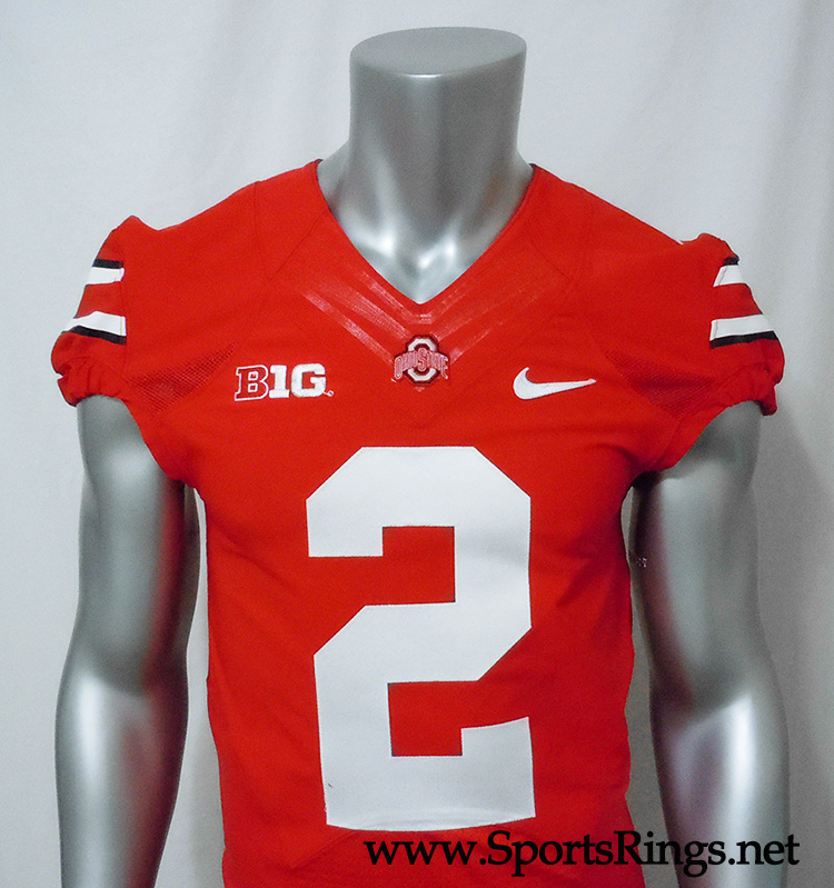 "2013 Ohio State Buckeyes Football ""#2 Scarlet Home Field"" Authentic On-Field Game Worn Player's Jersey!"
