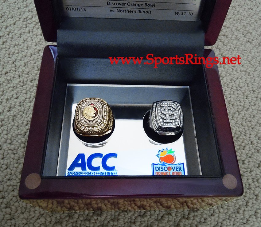 "2012/2013 FSU Florida State Seminoles Football ""ACC/DISCOVER ORANGE BOWL CHAMPIONSHIP"" Starting Player's Ring Set and Presentation Box"
