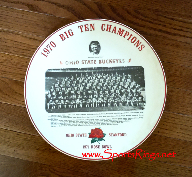 "1970 Ohio State Football ""BIG TEN CHAMPIONSHIP"" Player Issued Commemorative Plate!"