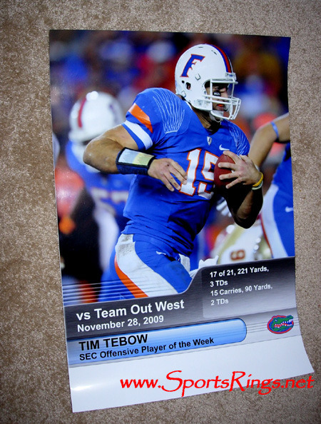 "2009 UF Florida Gators Football ""UF vs FSU"" #15 Tim Tebow Game Stats Poster"