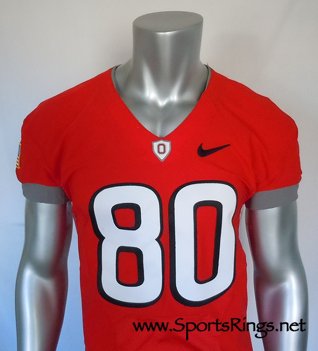 2010 Ohio State Football Nike Pro Combat Rivalry Game Worn Starting Player's Jersey!!(vs Michigan)-#80 Chris Fields-Starting WR