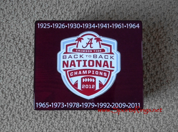 "2012 Alabama Crimson Tide Football ""NATIONAL CHAMPIONSHIP"" Authentic Starting Player Issued Ring Display Case!!"