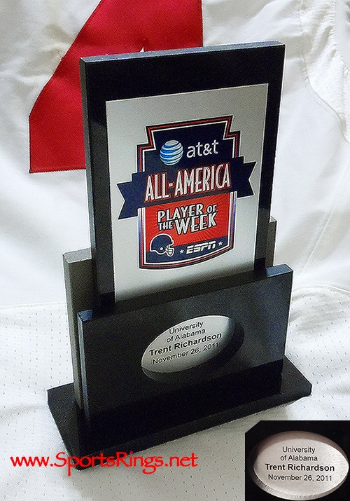 "2011 Alabama Crimson Tide Football ""AT&T ESPN ALL-AMERICAN PLAYER OF THE WEEK"" Player Issued Trophy vs Auburn-#3 Trent Richardson-Starting RB!!"