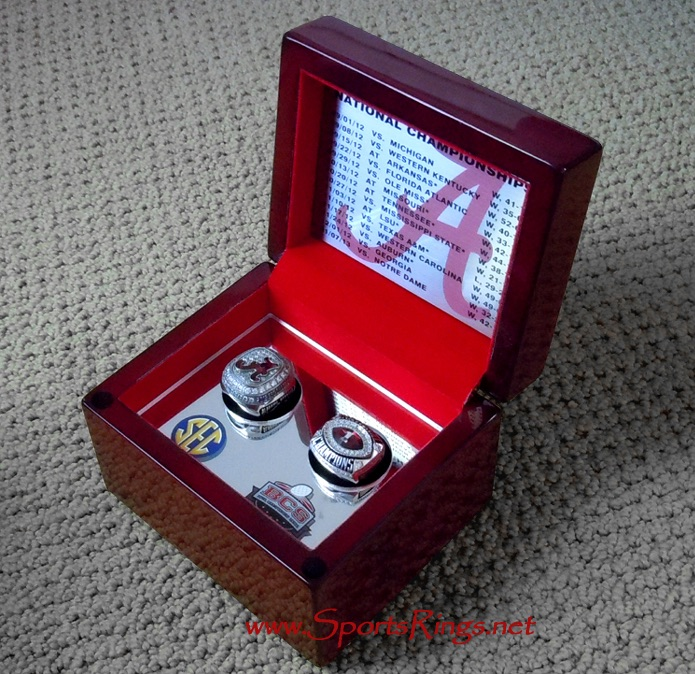 "**RARE!!**2012 Alabama Crimson Tide Football ""BCS/SEC NATIONAL CHAMPIONSHIP"" Starting Player Issued 2-Ring Set w/Wood Presentation Display Case!!"