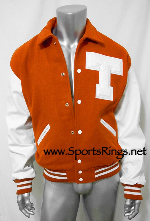 "Official Texas Longhorns Football Starting Player Issued Varsity ""T"" Letterman's Jacket Size X-Large"