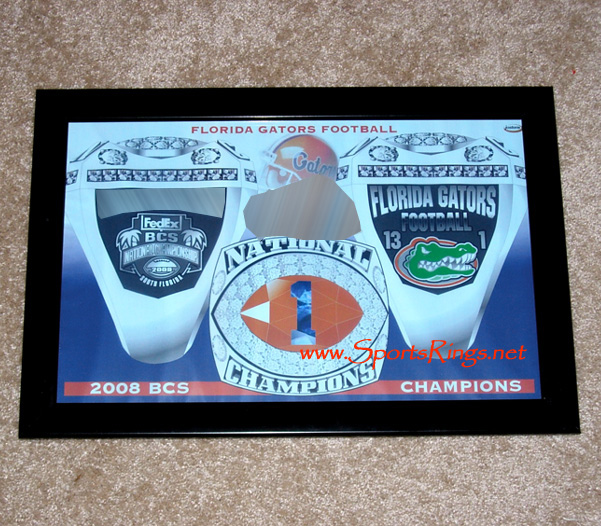 "2008 UF Gators Football ""BCS National Championship"" Ring Plaque"