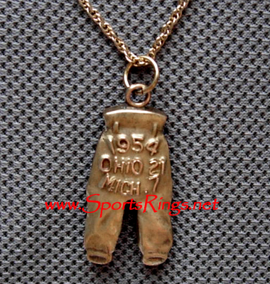 "1954 Ohio State Buckeyes Football ""NATIONAL CHAMPIONSHIP GOLD PANTS"" Player's Award Charm!!"