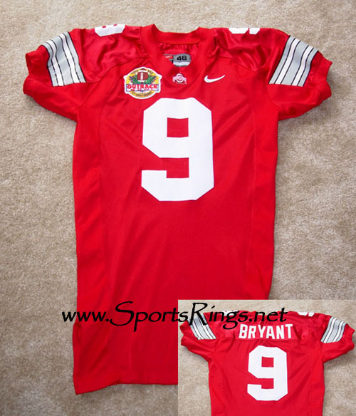 "2001 Ohio State Football ""Outback Bowl"" #9 Ricky Bryant Game Worn Jersey"