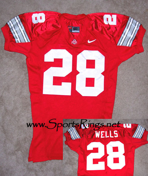 2001 Ohio State Football #28 Jonathan Wells Game Worn Jersey
