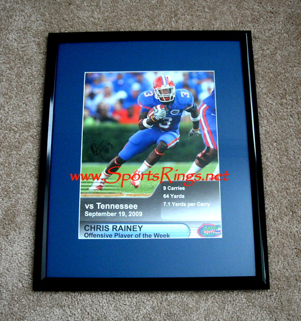 "2009 UF Gators Football ""#3 Chris Rainey"" Framed Auto'd Picture"