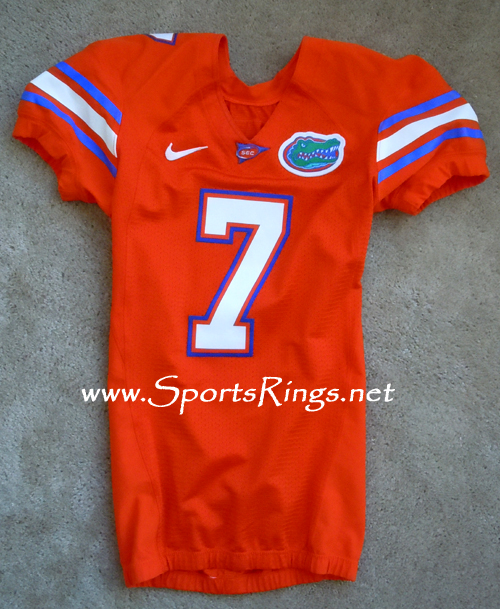 UF Florida Gators Football Throwback Orange Game Worn Player's Jersey-#7